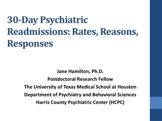 30-Day Psychiatric Readmissions: Rates, Reasons, Responses