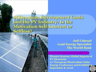 Millennium Development Goals and the PV Industry: Is the Motivation Self-Interest or Selfless?