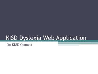KISD Dyslexia Web Application