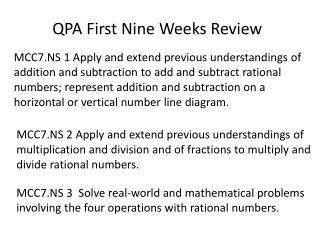 QPA First Nine Weeks Review
