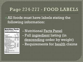 Page 274-277 - FOOD  LABELS
