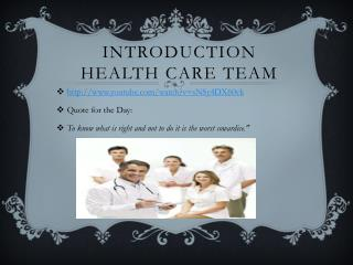 Introduction Health Care Team