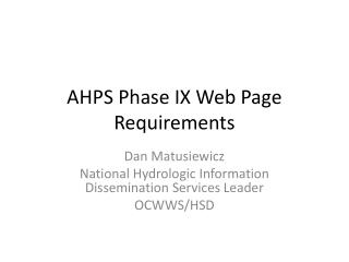 AHPS Phase IX Web Page Requirements