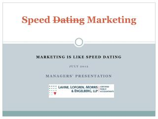 Speed Dating Marketing