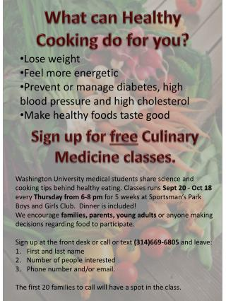 What can Healthy Cooking  do for you ?