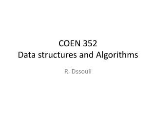 COEN 352 Data structures and Algorithms