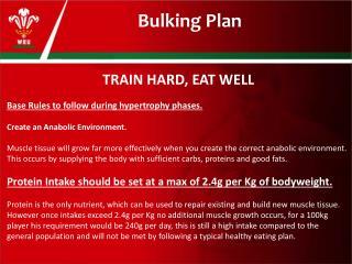 Bulking Plan