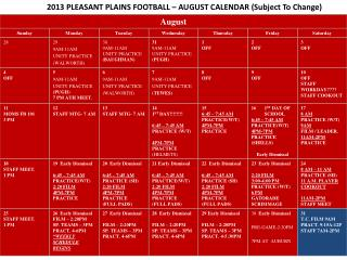 2013 PLEASANT PLAINS FOOTBALL – AUGUST CALENDAR (Subject To Change)