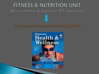 FITNESS & NUTRITION UNIT Why is fitness & nutrition SO important? http://www.youtube.com/watch?v=vCORDl4bqDE