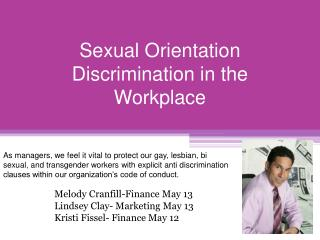 Sexual Orientation Discrimination in the Workplace