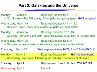 Part 3: Galaxies and the Universe