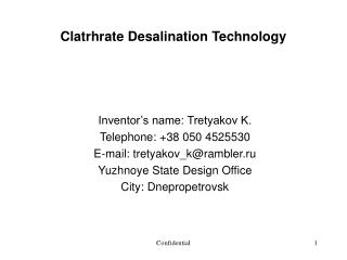 Clatrhrate Desalination Technology