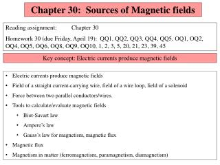 Chapter 30:  Sources of Magnetic fields