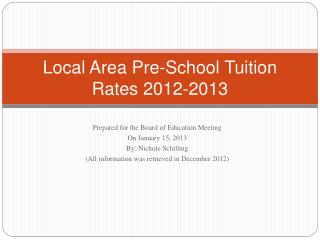 Local Area Pre-School Tuition Rates 2012-2013
