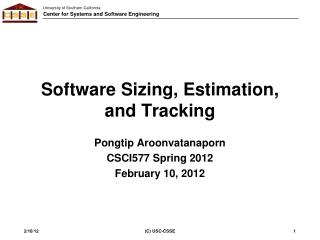 Software Sizing, Estimation, and Tracking