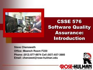 CSSE 576  Software Quality Assurance: Introduction