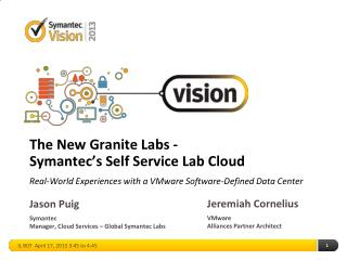 The New Granite Labs - Symantec's Self Service Lab  Cloud  Real-World Experiences with a VMware Software-Defined Data Ce