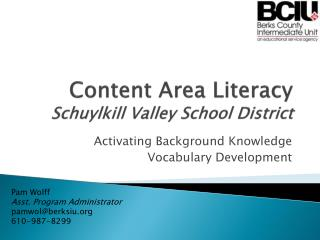Content Area Literacy Schuylkill Valley School District