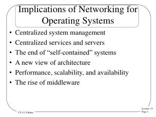 Implications of Networking for Operating Systems