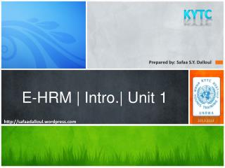 E-HRM | Intro.| Unit 1
