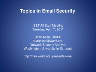 Topics in Email Security