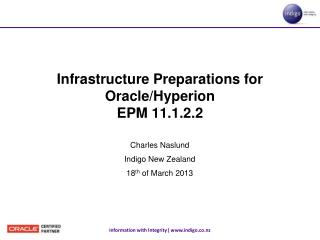 Infrastructure Preparations for                Oracle/Hyperion  EPM 11.1.2.2