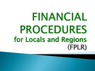FINANCIAL PROCEDURES