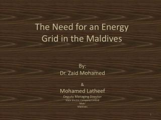 By: Dr.  Zaid  Mohamed & Mohamed  Latheef Deputy Managing Director State Electric Company Limited Male' Maldives