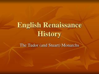 English Renaissance History