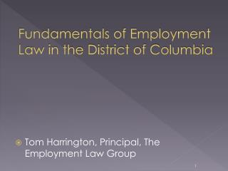 Fundamentals of Employment  Law in the District of Columbia
