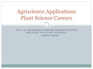 Agriscience  Applications Plant  Science Careers