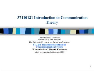 37110121 Introduction to Communication Theory