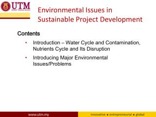 Environmental Issues in Sustainable Project Development