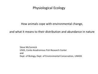 Physiological Ecology