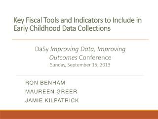 Key Fiscal Tools and Indicators to Include in Early Childhood Data Collections