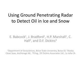 Using Ground Penetrating Radar to Detect Oil in Ice and Snow