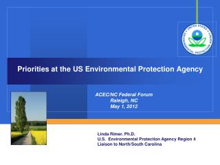 Priorities at the US Environmental Protection Agency