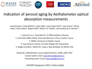 Indication of aerosol aging by Aethalometer optical absorption measurements