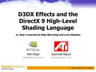 D3DX Effects and the DirectX 9 High-Level Shading Language