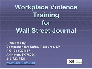 workplace violence training for wall street journal