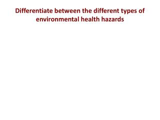 Differentiate between the different types of environmental health hazards