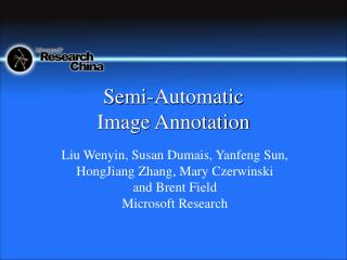 Semi-Automatic  Image Annotation