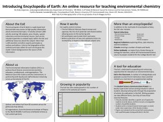 Introducing Encyclopedia of Earth: An online resource for teaching environmental  chemistry