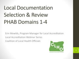 Local Documentation Selection & Review   PHAB Domains 1-4