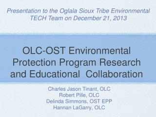 OLC-OST Environmental Protection Program Research and Educational  Collaboration