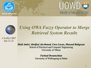Using OWA Fuzzy Operator to Merge Retrieval System Results