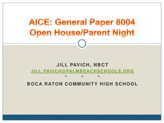 AICE: General Paper 8004 Open House/Parent Night