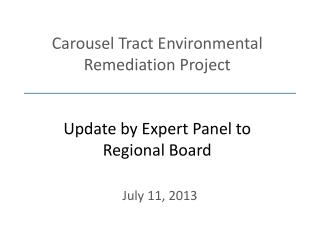 Carousel Tract Environmental Remediation Project Update by Expert Panel to Regional Board