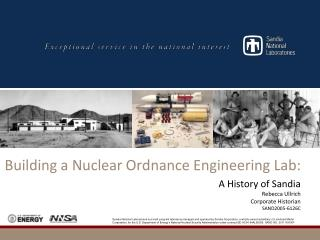 Building a Nuclear Ordnance Engineering Lab: