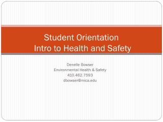 Student Orientation   Intro to Health and Safety